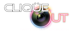 Clique Out White text logo