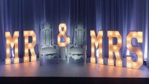 Giant Mr & Mrs light up letters with two thrones