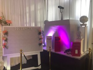 Royal post box replicas & disco lights at showroom