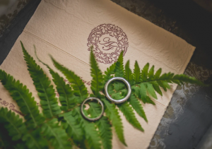 Wedding rings placed on a fern.