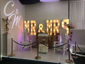 Hire Mr. & Mrs. Giant Light Up Letters