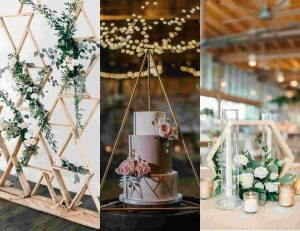 geometric decor for rustic wedding