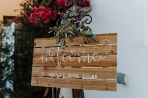 hand-written wedding sign